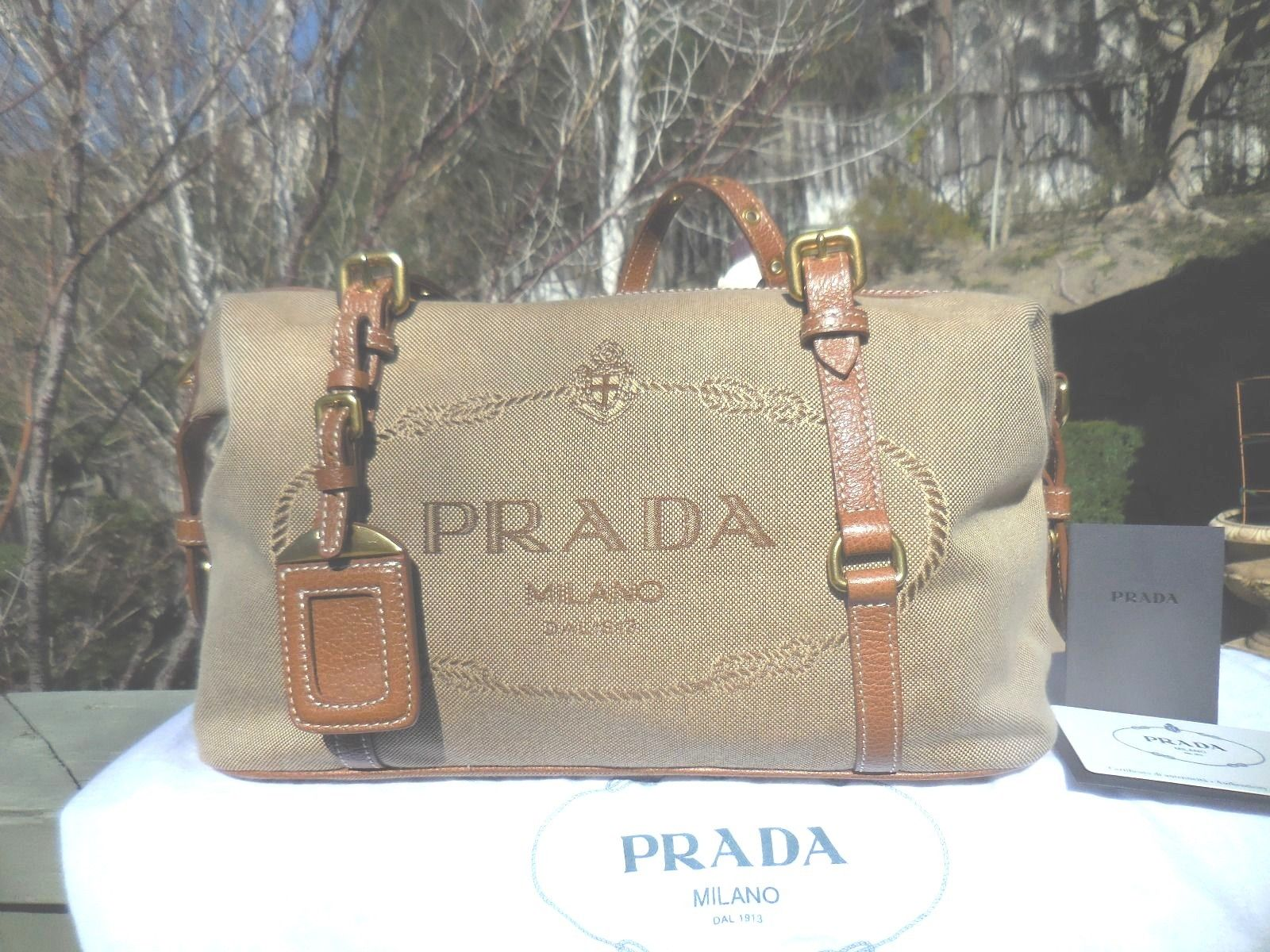 decdeb5cb52e NWT Authentic PRADA Bauletto Logo Jacquard Sa… « Cheap Designer Handbags